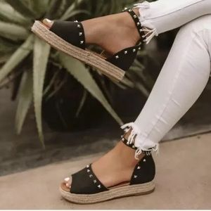 Shoes - Studded Peep Toe Ankle Strap Platform Sandals-Sz:8